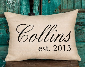 Established Date, Wedding Gift, Family Name, Burlap, Home Decor, Personalized Pillow, Burlap Pillow, Engagement Gift, Personalized Gift,