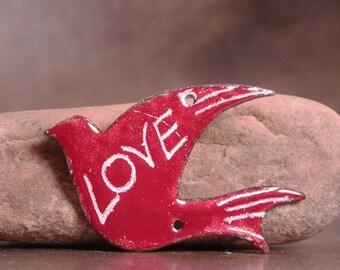 Enameled Sgraffito Bird Pendant Focal Bead LOVE Divine Spark Designs SRA