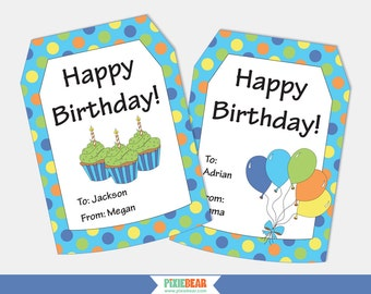 Birthday Gift Tags - Personalized Gift Tags - Personalized Birthday Tags - Happy Birthday Tags - Printable Tag - Editable (instant Download)