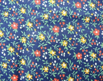 Vintage cotton fabric, flower fabric, floral fabric - 5.85x0.78 meters