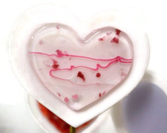 Heart Plant Stake, Garden Stake, Fused Glass, Valentines Day, Pink and White