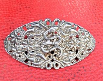 Vintage Victorian Barrette,   , French Barrette,  Hair clip- Silver Barrette- Filigree Barrette