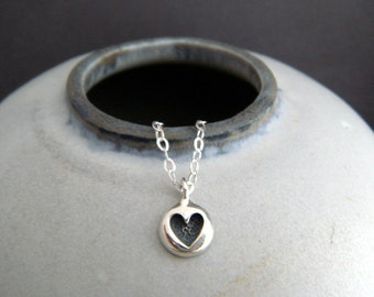 """sterling silver tiny heart necklace small romantic dainty jewelry petite simple charm delicate everyday pendant valentines gift for her 1/4"""""""