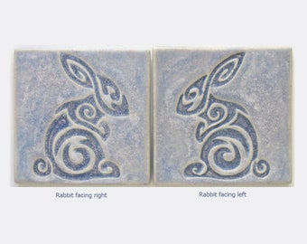 Rabbit Arts and Crafts Handmade Decorative 4x4 MUD Pi tile
