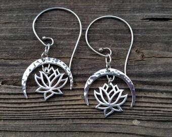 Sterling silver drop swirl earrings, hammered silver earrings, crescent moon and lotus earrings