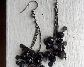Black bead party dangle earrings
