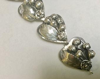 vintage sterling hobe bracelet, hearts and flowers