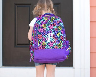 Petal Punch Girls Monogrammed Backpack, Monogram Book Bag, Back to School