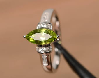 natural peridot ring peridot promise ring August birthstone marquise cut green gemstone sterling silver ring