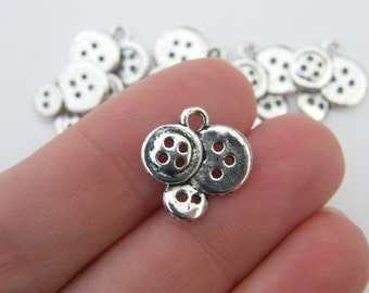 8 Buttons charms antique silver tone P516