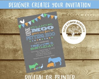 Petting Zoo birthday party invitation, bunting, banner, farm, shabby chic