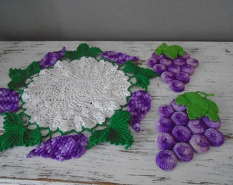 Grapes and leaves crocheted white doily and 2 patching grape hot pads in shape of grape closers