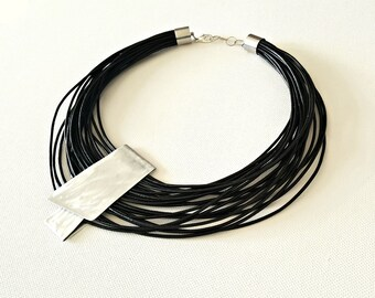 Black statement necklace  Popular necklace  Leather necklace  Contemporary jewelry Asymmetrical jewelry Multi strand necklace Gift for her