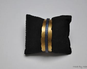 Navy Blue Metallic leather with gold leaf Cuff Bracelet
