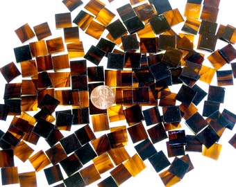 Brown and Gold Streaky Mosaic Tile Squares