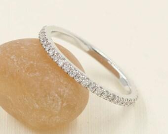 1.6mm Full Eternity Band.Diamond Wedding Band. Rose Gold Wedding Band.14k White,Yellow Gold. 0.38ct High Quality Diamond Ring.Diamond Band