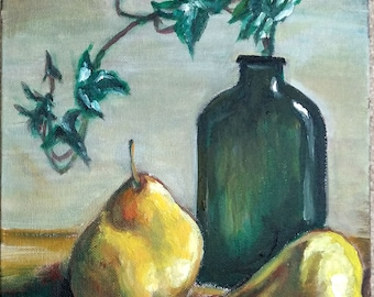 """Original Oil Painting, Still life- Pears and Green Vase, 1804134, 12""""x9"""""""