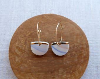 Yellow Gold Lined Half Moon Hoop Earrings