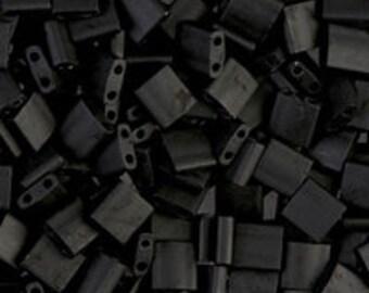 TL-401F Matte Black Miyuki Tila Beads - Matte Black Tila - 2 hole bead - Sold 10 Grams