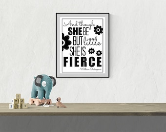 Little & Fierce - Digital Download Quote / Artwork / Typography Wall Art / Gallery Wall / Baby Nursery / Girls Room