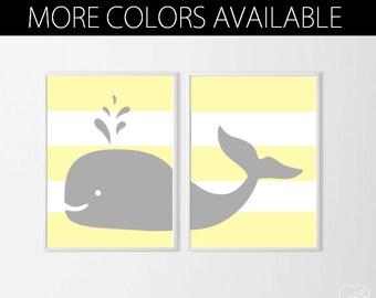Nautical Nursery Art Prints , Whale Nursery Art , Neutral Nursery Art , Beach Nursery Art , Yellow Grey Nursery , Nautical Kids Wall Decor