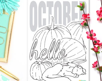 "Hello October • Bullet Journal Monthly Sticker • A5 Planner Inserts for Kikki K & Filofax • Planner Pages • Halloween Sticker • 5"" x 7"""