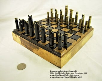 Mixed caliber bullet shell chess set and Optional 11 inch Red Oak log board #1120140052 -Free Shipping to U.S.