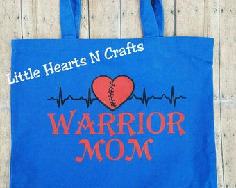 Warrior Mom tote bag, warrior mom CHD purse, EKG heart purse, EKG purse, Awareness Mended Heart Canvas Tote Bag Purse