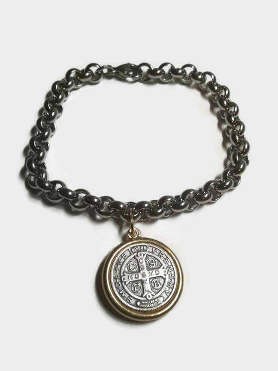 Saint Benedict Medal Bracelet in Stainless steel - silver and gold medal with stainless steel bracelet