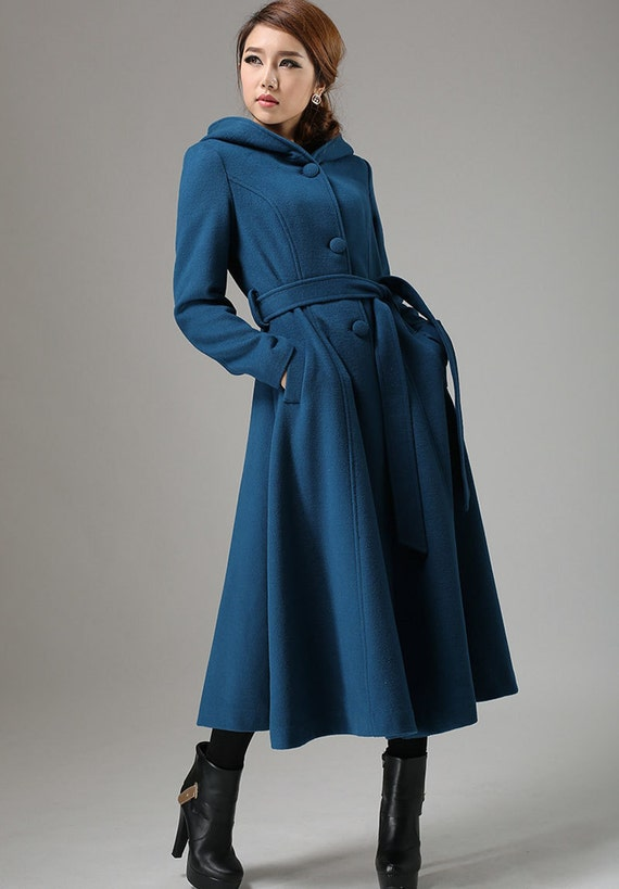 Popular Blue coat wool coat swing coat womens coat long coat ZR48