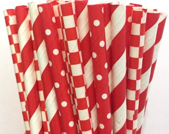 2.85 US Shipping -Christmas straws - Red straws - paper straws -Cake Pop Sticks - Drinking Straws