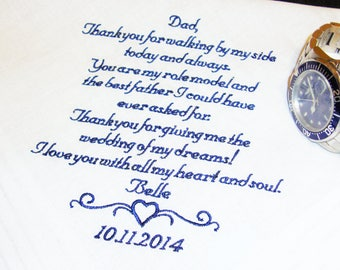Personalized Embroidered Handkerchief, A Special Gift for Father of the Bride - 30-60 words - Custom Embroidered Handkerchief - Mens Hankie