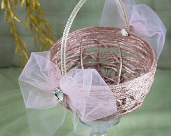 Rose Gold Bronze Flower Basket, Crystal Wedding Basket, Flower Girl Basket, Rustic Wedding Flower Girl, Rustic Flower Basket, Rustic Basket