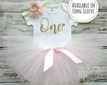 First Birthday Outfit Girl | Pink and Gold First Birthday Dress | 1st Birthday Girl Outfit | Birthday Shirt | Cake Smash Outfit | Photo Prop