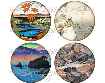 VINTAGE ASIAN LANDSCAPE (5) Digital Collage Sheet for Pocket Mirror - Circles 2.5 inch - 63mm - Buy 3 Get 1 Extra Free - Instant Download