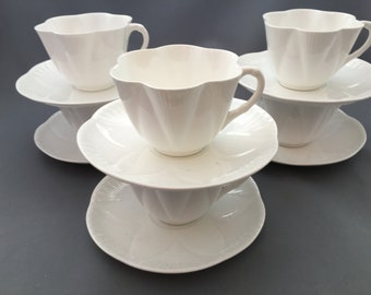 Shelley Dainty White Set of Six Tea Cups and Saucers.