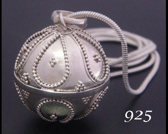 Sterling Silver Harmony Ball Bola Necklace with Traditional Balinese symbols | Angel Caller, Pregnancy Gift, Mother to Be Gift, 013
