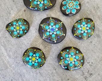 Hand-painted mandala rock set #39
