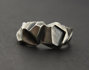 Angled Facet Ring: Oxidised Sterling Silver Faceted Ring