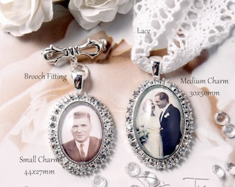 Custom Bouquet Charm, Wedding Bouquet Charm, Bouquet brooch, Custom Photo Charm, Memorial Photo Charm, Diamante Photo Charm, Bridal Bouquet.