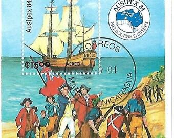 nicaragua sovenir sheet 1984 ausipex84 sailing ship