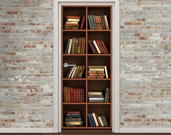 Door Mural Bookcase with Books - High Resolution HD Print Sel-Adhesive Door Wrap