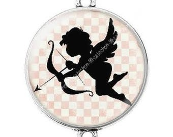 Great connector silver cabochon 7 Cupid Valentine