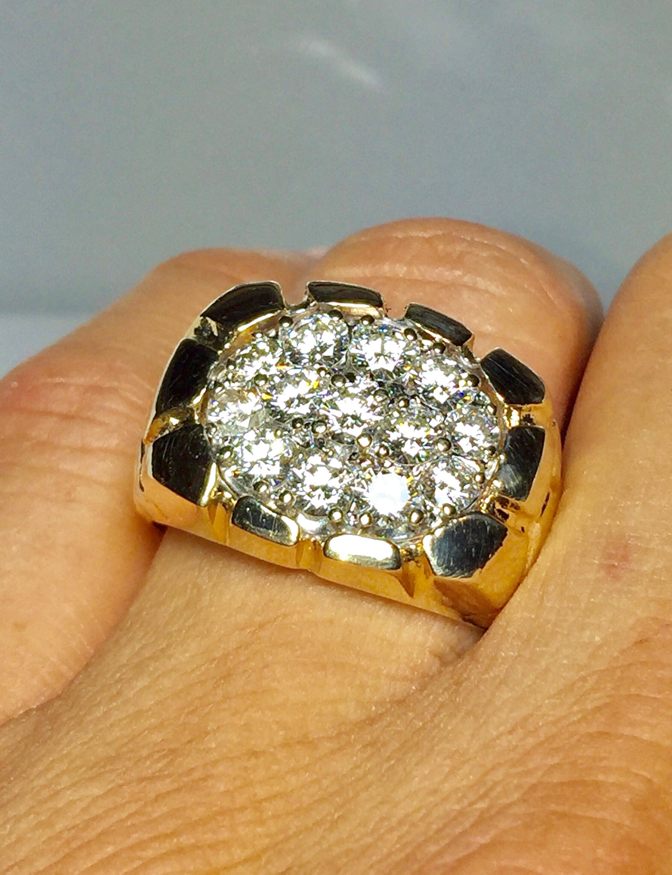 men rings solid man mens large gold fancy ring oblacoder cluster yellow natural diamond k s