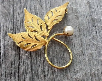 Vintage Gold Brooch/Pin, 12K Gold Filled Textured Leaves w/ Pearl, Signed C.R. CO