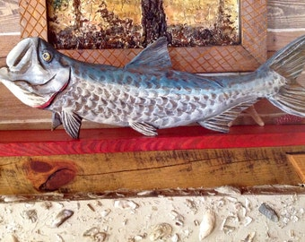 Tarpon fish wooden chainsaw carving 3 ft. Wall mount taxidermy art original Ocean Arts Seaside decor beach home accent sport fishing