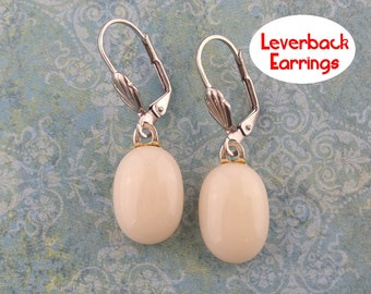 Fused Glass Earring, French Vanilla Leverback Earrings, Dangle Cream Leverbacks, Silver Plated - Tatianna - 411-5