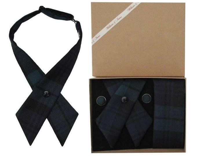 Pure Wool Black Watch Tartan Crossover Tie & Boxed Gift Set