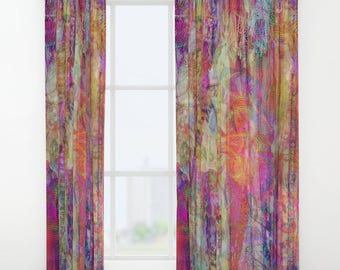 Boho Chic   Window Curtains or Valance  Window Treatments