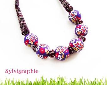 Polymer clay beads and purple wire necklace